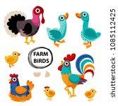 farm birds family cartoon flat... | Shutterstock .eps vector #1085112425