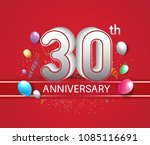 30th anniversary design red... | Shutterstock .eps vector #1085116691