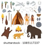 primitive people vector mammoth ...