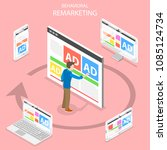 remarketing flat isometric... | Shutterstock .eps vector #1085124734
