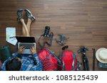 overhead view of traveler man... | Shutterstock . vector #1085125439