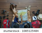overhead view of traveler's... | Shutterstock . vector #1085125484