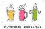 set of smoothies in different... | Shutterstock .eps vector #1085127611
