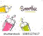 smoothie in glass bottle with... | Shutterstock .eps vector #1085127617