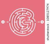 letter g shape maze labyrinth ... | Shutterstock .eps vector #1085127974