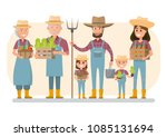 happy farmer family cartoon... | Shutterstock .eps vector #1085131694