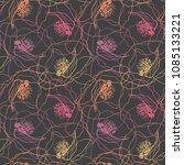 poppy flowers seamless pattern. ... | Shutterstock .eps vector #1085133221