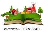 open book with farm scene  barn ... | Shutterstock .eps vector #1085133311