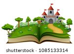 story book with a castle and... | Shutterstock .eps vector #1085133314