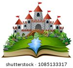 story book with a castle and... | Shutterstock .eps vector #1085133317