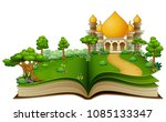 open book with islamic mosque... | Shutterstock .eps vector #1085133347