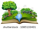 open book with river and green... | Shutterstock .eps vector #1085133401