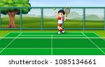 happy kids playing tennis at... | Shutterstock .eps vector #1085134661