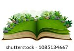open book with green plant of... | Shutterstock .eps vector #1085134667