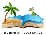 open book with tropical beach... | Shutterstock .eps vector #1085134721