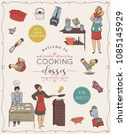 cooking classes.design template ... | Shutterstock .eps vector #1085145929