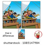 pirate captain with spyglass on ... | Shutterstock .eps vector #1085147984