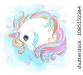white unicorn with rainbow hair ...   Shutterstock .eps vector #1085152364