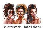 watercolor beauty african women.... | Shutterstock . vector #1085156564