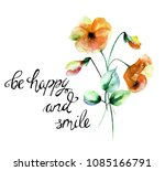 colorful wild flowers with... | Shutterstock . vector #1085166791