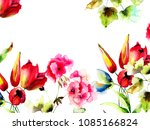 template for greeting card with ... | Shutterstock . vector #1085166824