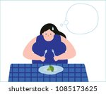 overweight young woman with... | Shutterstock .eps vector #1085173625