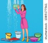 pop art worried woman holding... | Shutterstock .eps vector #1085177561