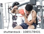 asian man have injury muscle... | Shutterstock . vector #1085178431