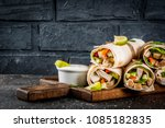 healthy lunch snack. stack of... | Shutterstock . vector #1085182835