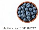fresh blueberries in wooden... | Shutterstock . vector #1085182919