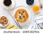 top view of tasty breakfast... | Shutterstock . vector #1085182961