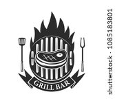 grill bar. cutted meat and... | Shutterstock .eps vector #1085183801