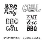 hand drawn lettering about bbq... | Shutterstock .eps vector #1085186651