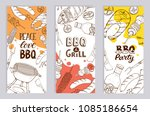 bbq and grill banners with... | Shutterstock .eps vector #1085186654