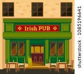 irish pub exterior. flat design ...   Shutterstock .eps vector #1085196641