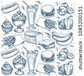 simply food pattern. classic... | Shutterstock .eps vector #1085200151