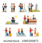 flat vector set of tourists... | Shutterstock .eps vector #1085200871