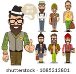 create hipsters characters | Shutterstock .eps vector #1085213801