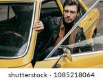 handsome stylish man in leather ... | Shutterstock . vector #1085218064