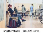 patient sitting in hospital... | Shutterstock . vector #1085218841