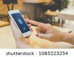 hand women holding smartphone... | Shutterstock . vector #1085223254