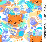 Vector abstract cute pattern jungle tiger. For print on a T-shirt, a picture in the nursery. Illustration.