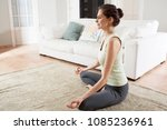 beautiful woman practicing yoga ... | Shutterstock . vector #1085236961