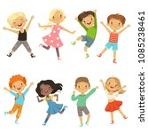 active kids in different action ... | Shutterstock .eps vector #1085238461