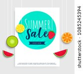 summer sale banner with hanging ... | Shutterstock .eps vector #1085245394