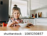 adorable funny toddler girl... | Shutterstock . vector #1085250857