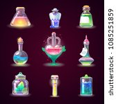 magic bottle vector magical... | Shutterstock .eps vector #1085251859