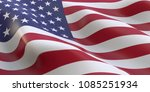 american flag waving 3d... | Shutterstock . vector #1085251934