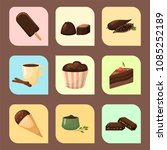 chocolate various tasty sweets... | Shutterstock .eps vector #1085252189