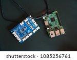 circuit boards lying on black...   Shutterstock . vector #1085256761